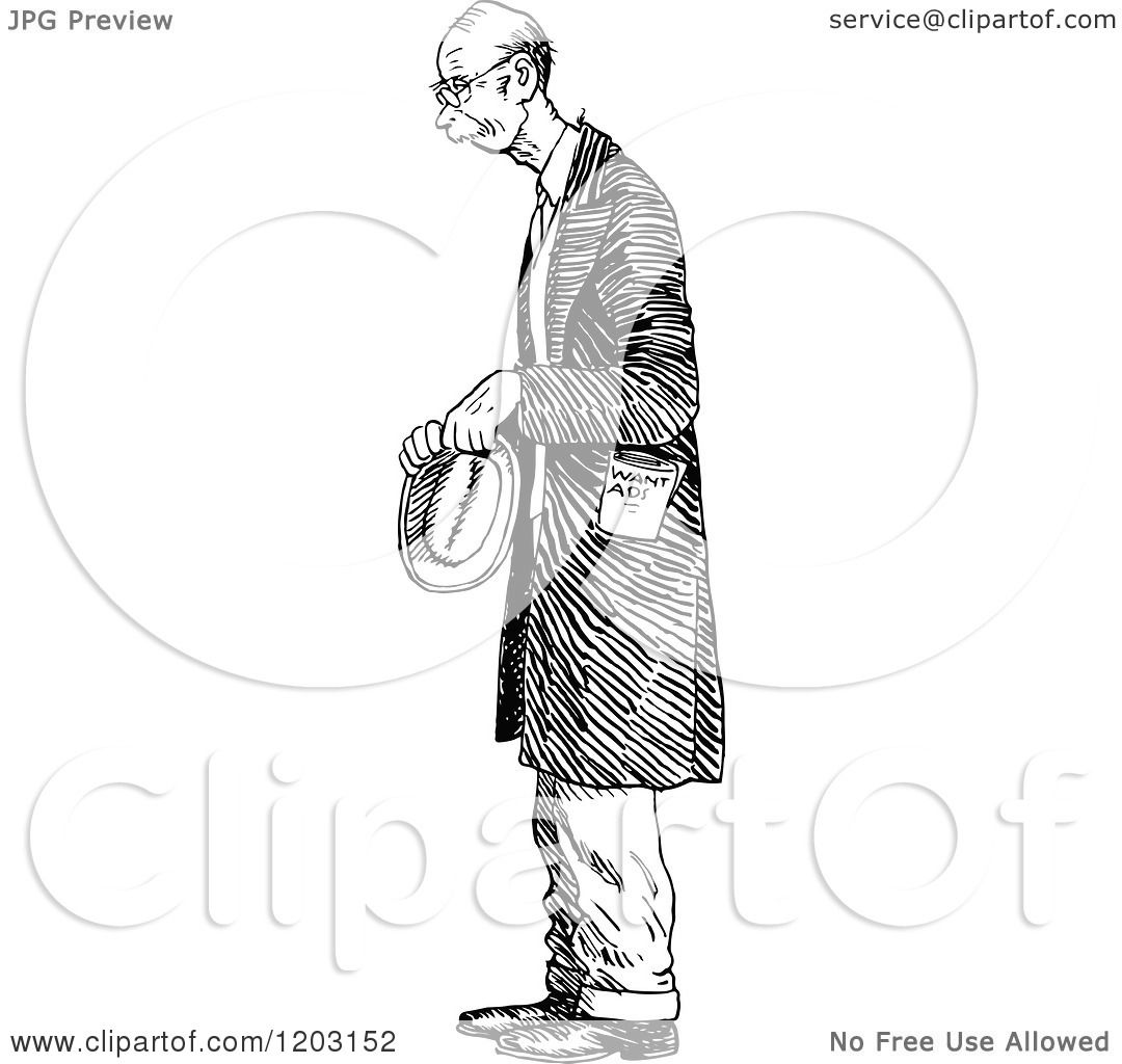 Cartoon Of A Vintage Black And White Nervous Old Man