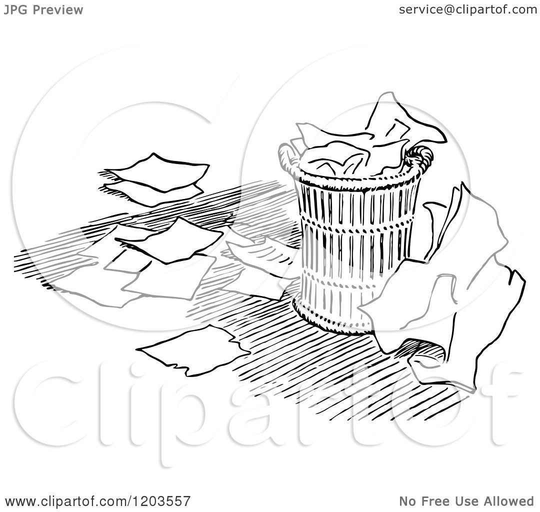 Cartoon Of A Vintage Black And White Over Flowing Trash