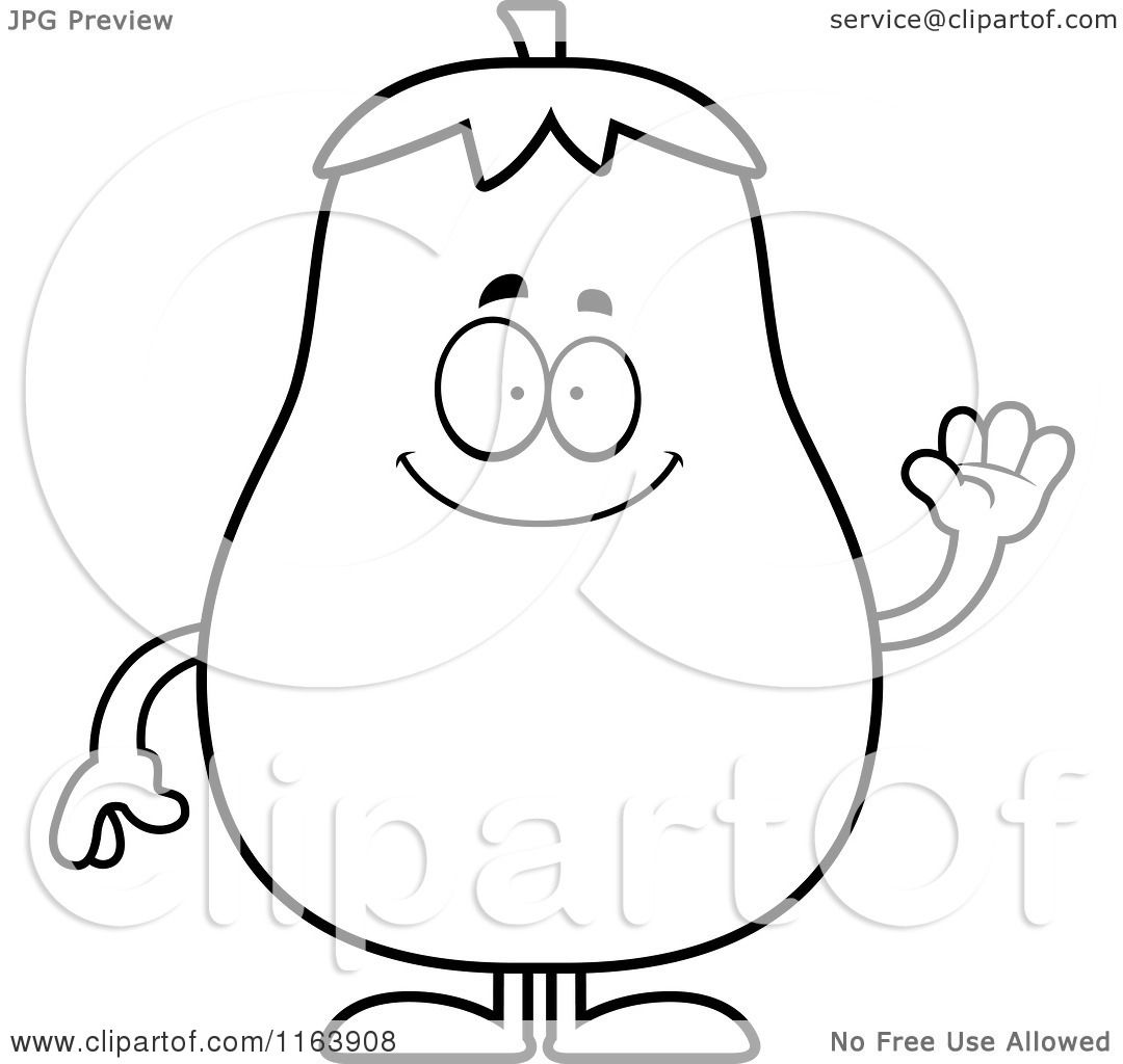 Cartoon Of A Waving Eggplant Mascot