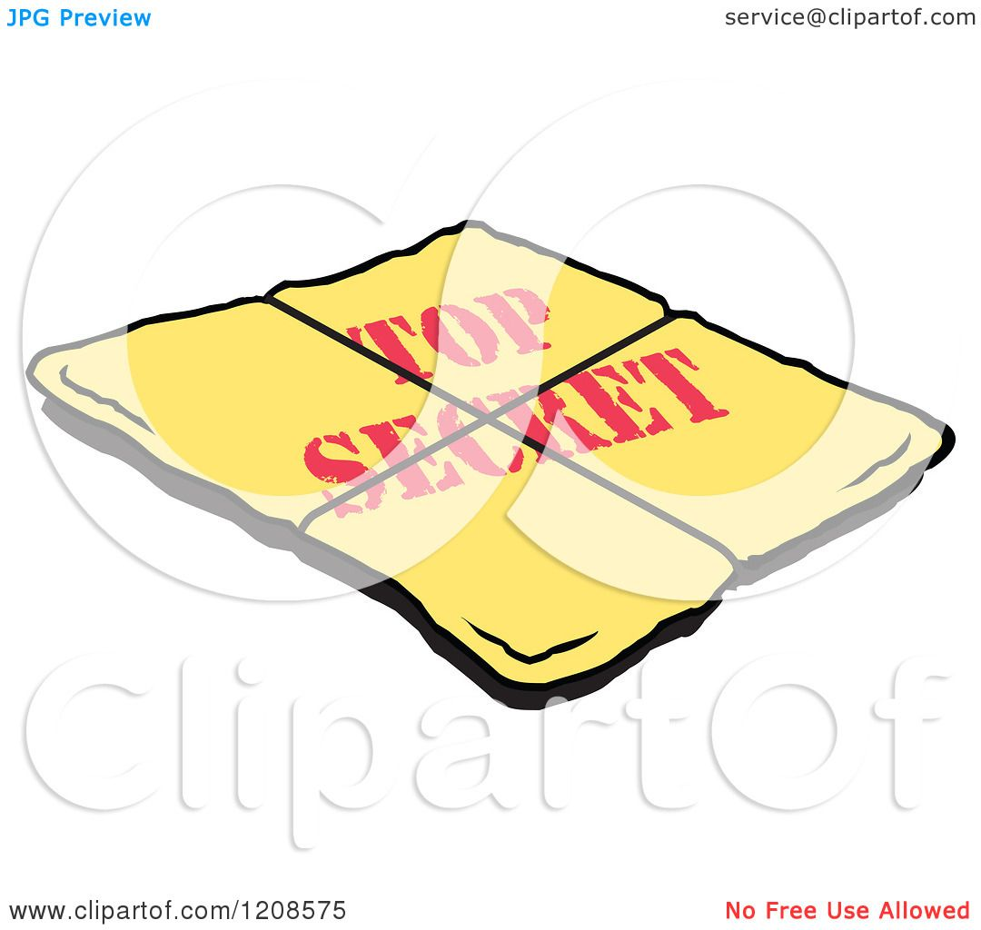 hight resolution of cartoon of a yellow top secret envelope royalty free vector clipart by johnny sajem