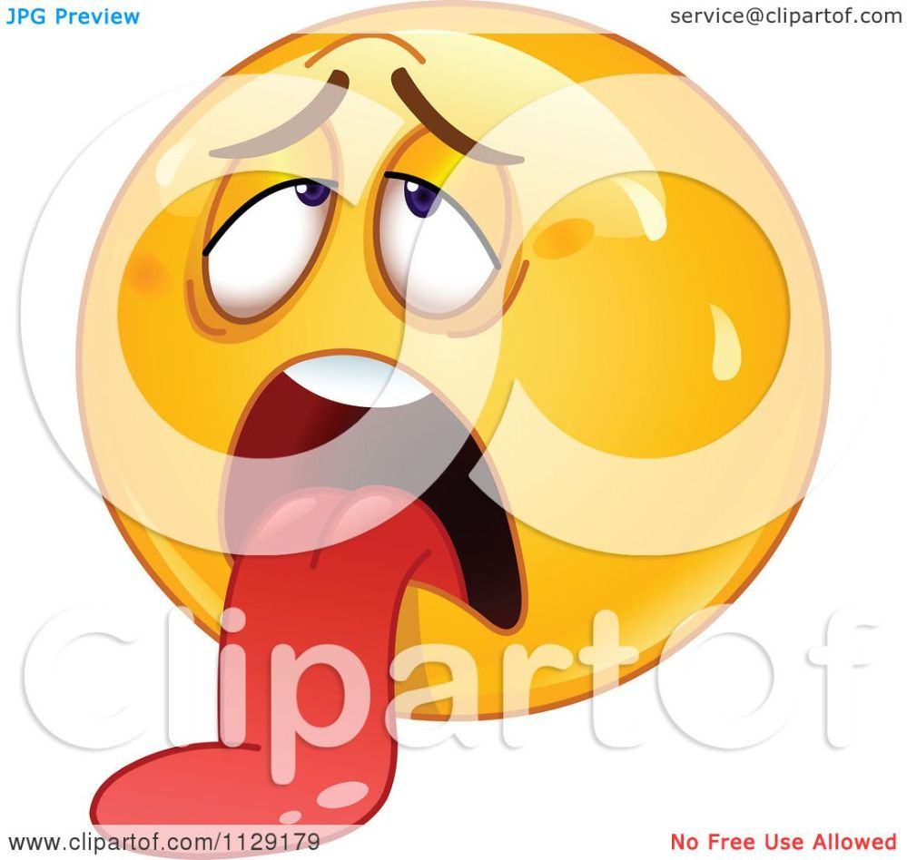 medium resolution of cartoon of an exhausted yellow emoticon smiley hanging his tongue out royalty free vector clipart by yayayoyo
