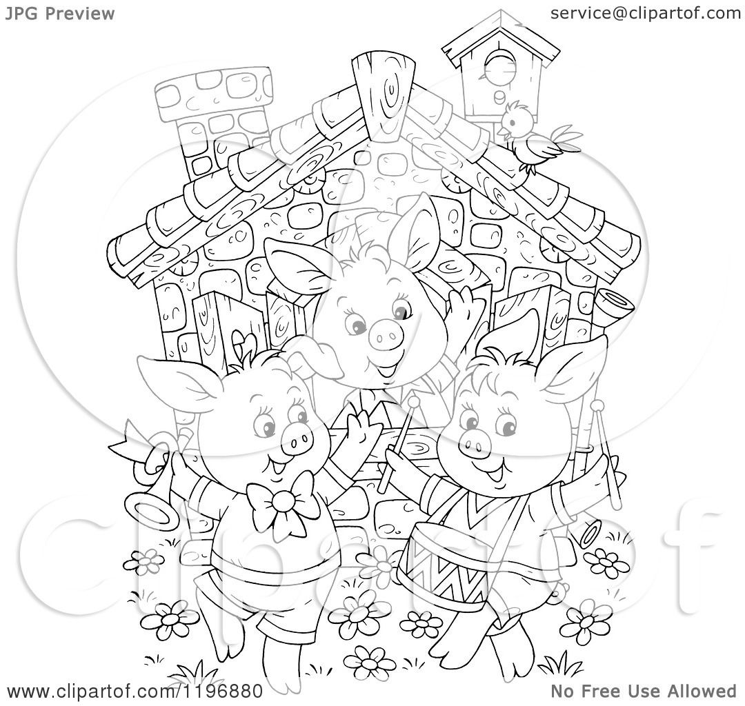 Cartoon of an Outline of the Three Little Pigs Dancing at