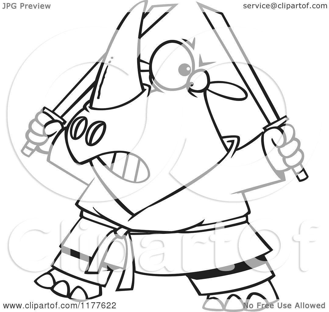 Cartoon of an Outlined an Outlined Ninja Rhino Holding