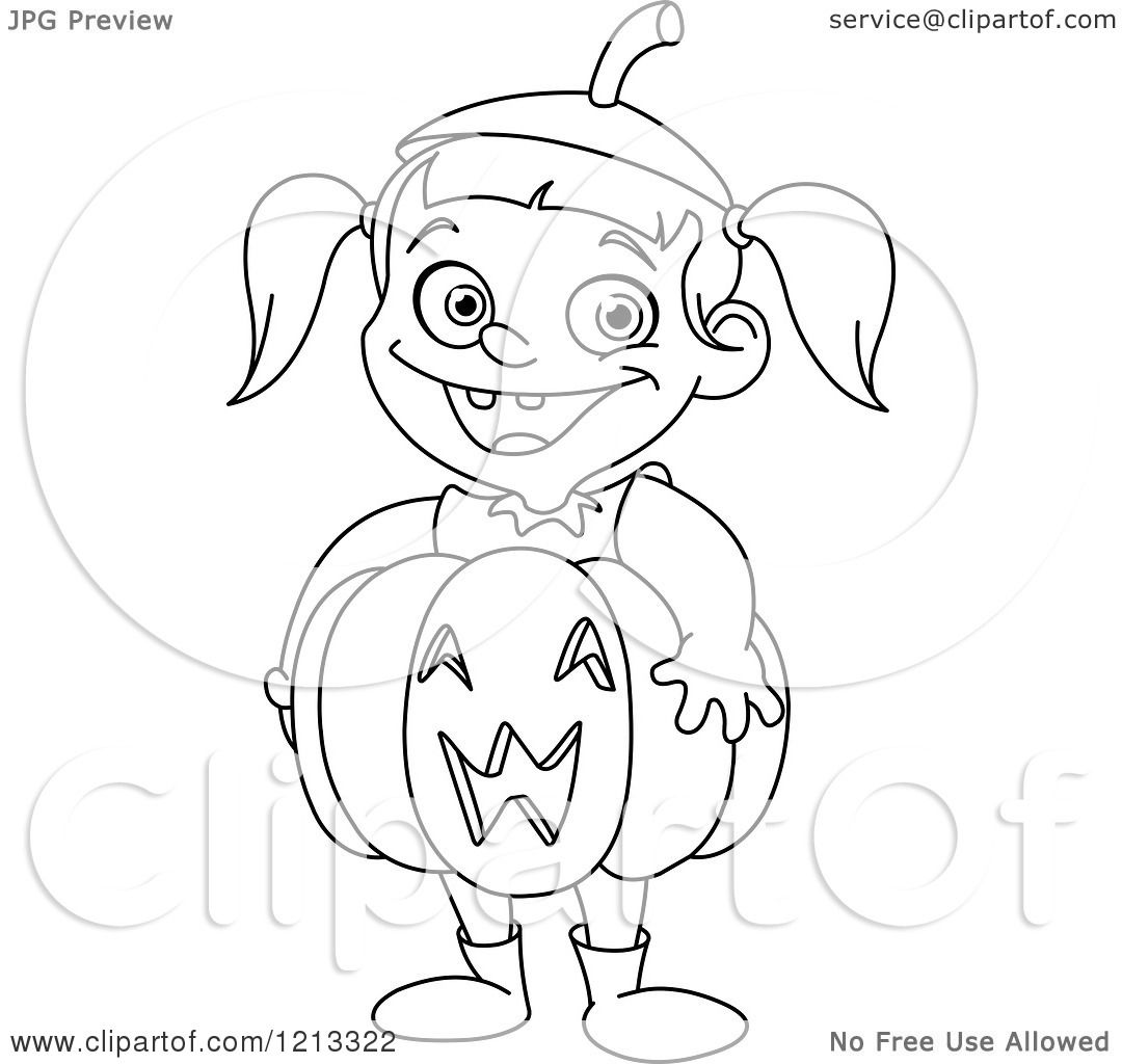 Cartoon Of An Outlined Cute Halloween Girl Wearing A