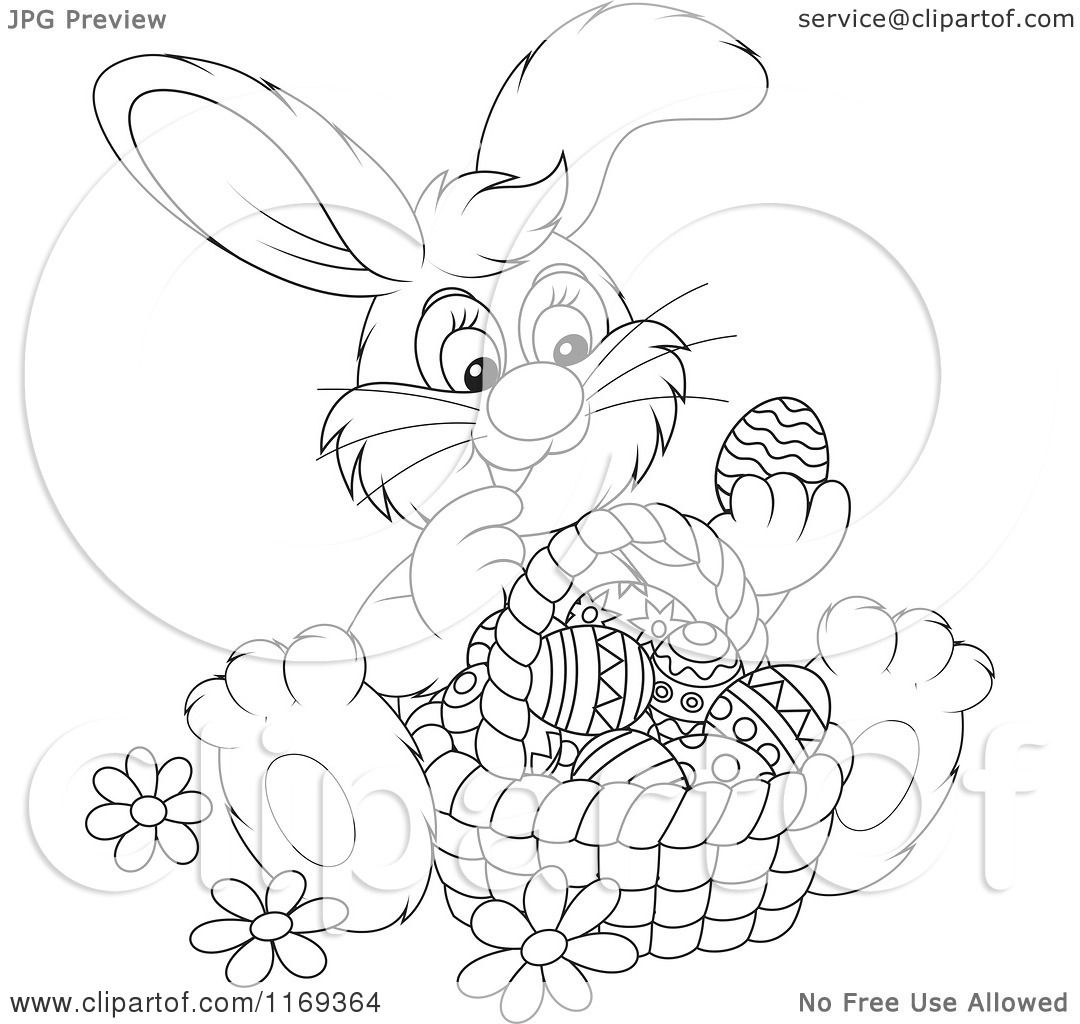 Cartoon Of An Outlined Easter Bunny Admiring Eggs In A