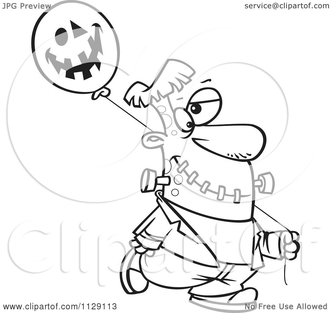 Cartoon Of An Outlined Frankenstein With A Halloween