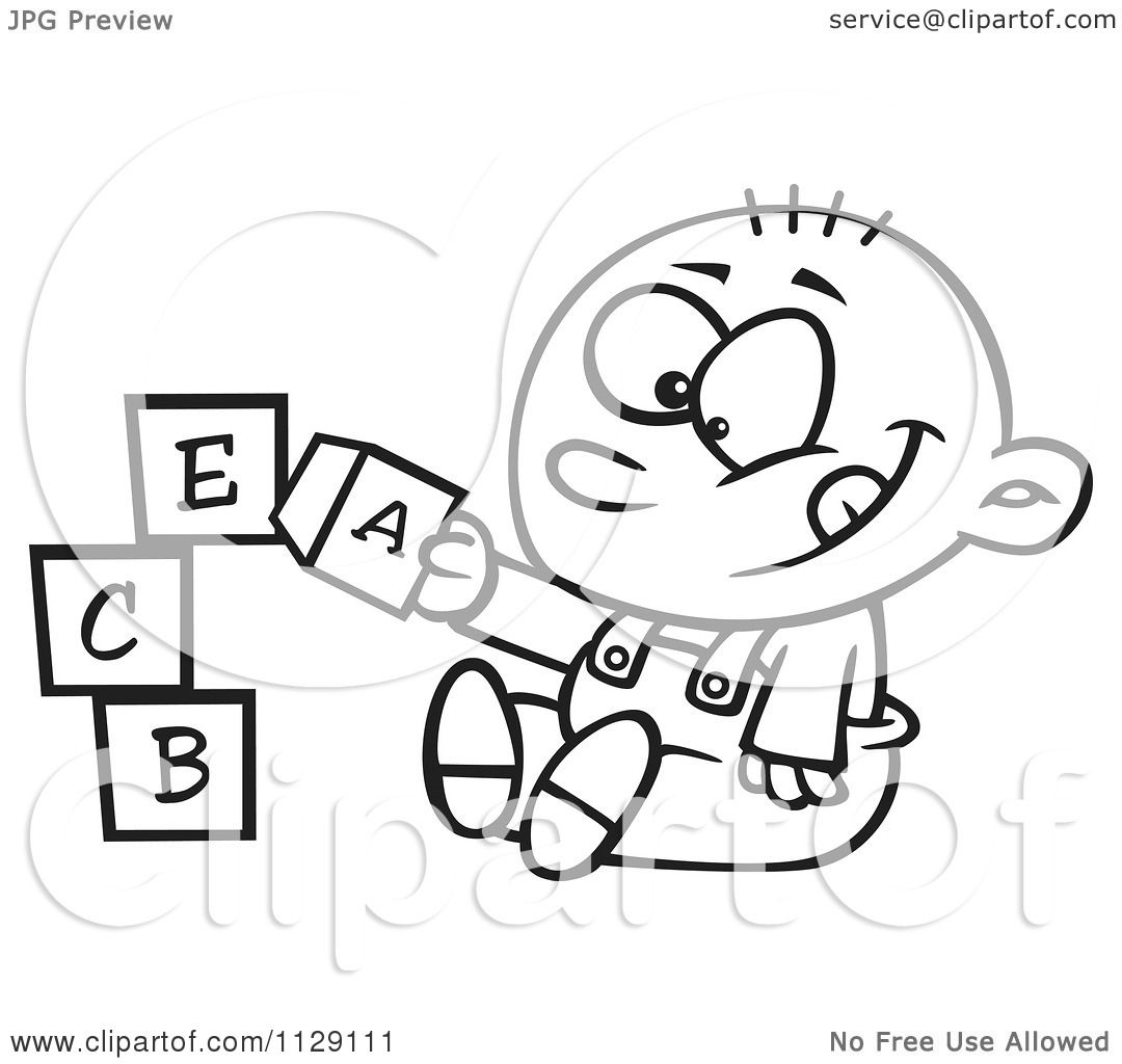 Cartoon Of An Outlined Happy Baby Boy Playing With