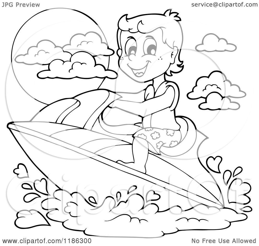 Cartoon Of An Outlined Happy Boy Wind Surfing