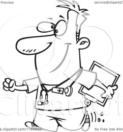 cartoon of an outlined happy male nurse carrying a clipboard royalty free vector clipart by toonaday [ 1080 x 1024 Pixel ]