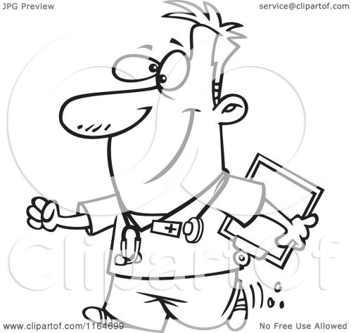 small resolution of cartoon of an outlined happy male nurse carrying a clipboard royalty free vector clipart by toonaday