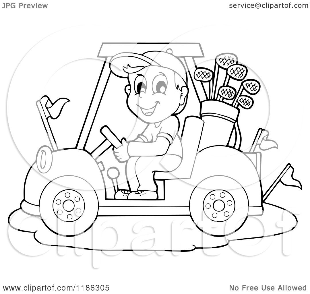 Cartoon Of An Outlined Happy Man Driving A Golf Cart