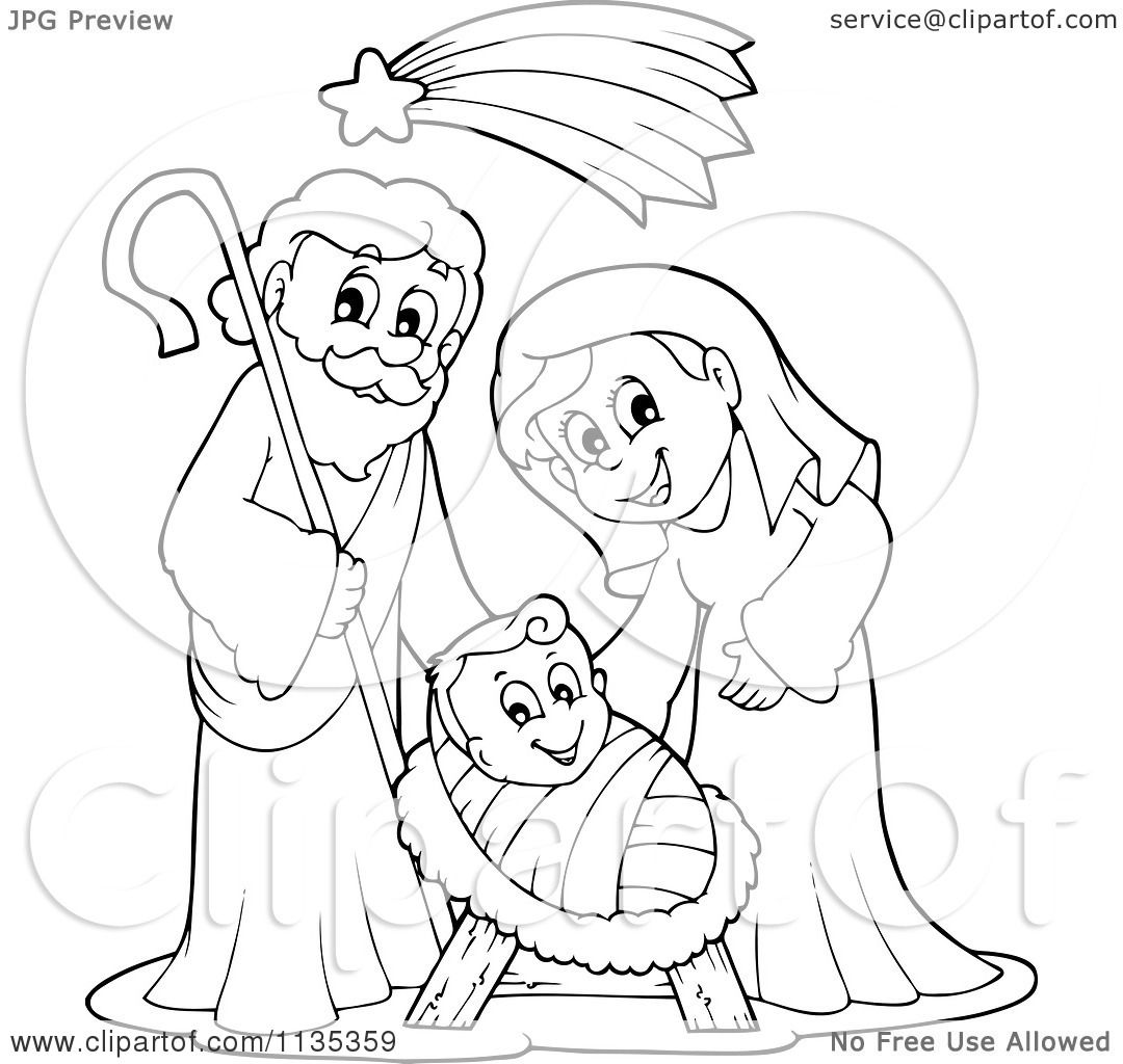 Cartoon Of An Outlined Joseph Virgin Mary And Baby Jesus