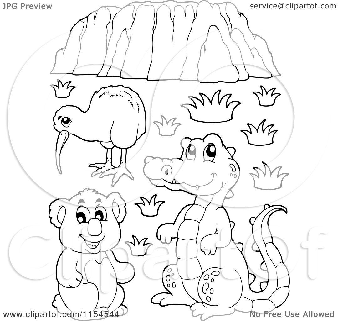 Cartoon Of An Outlined Kiwi Bird Crocodile Koala And Uluru