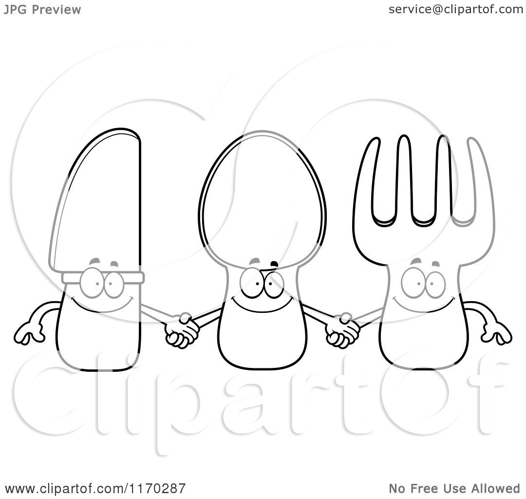 Cartoon Of An Outlined Knife Spoon And Fork Holding Hands