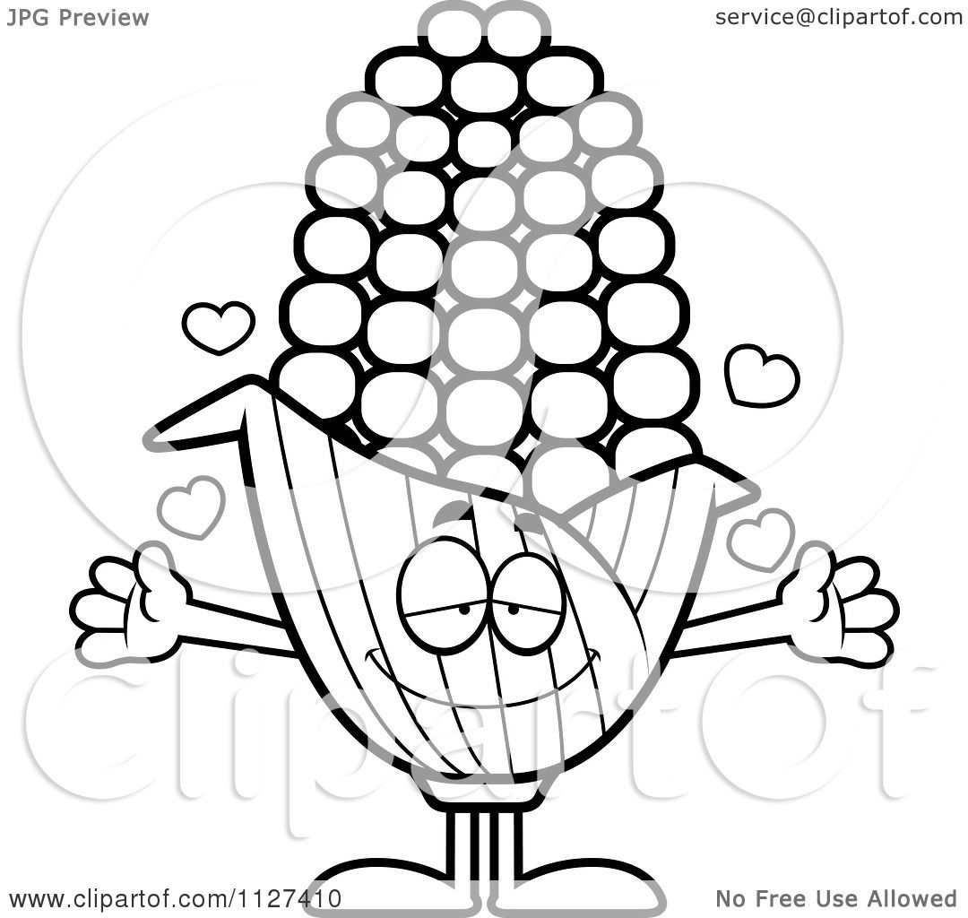 Cartoon Of An Outlined Loving Corn Mascot With Open Arms