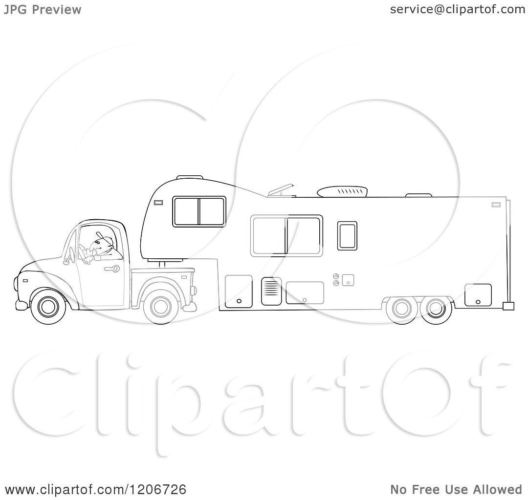 Cartoon of an Outlined Man Driving a Pickup Truck and