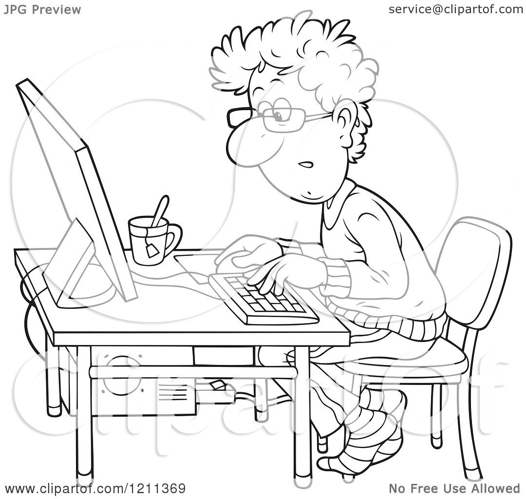 Cartoon of an Outlined Man Working at a Computer Desk with