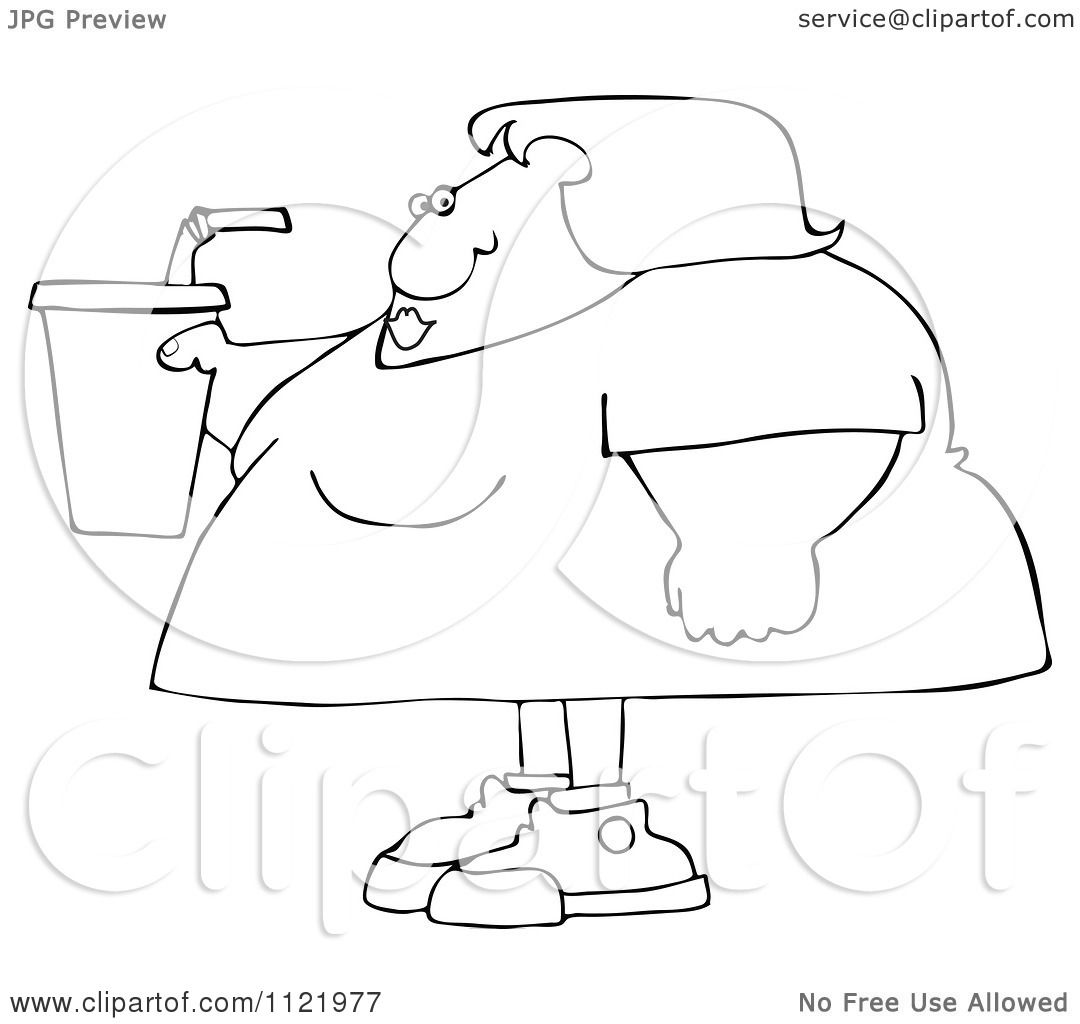 Cartoon Of An Outlined Obese Woman Holding A Fountain Soda