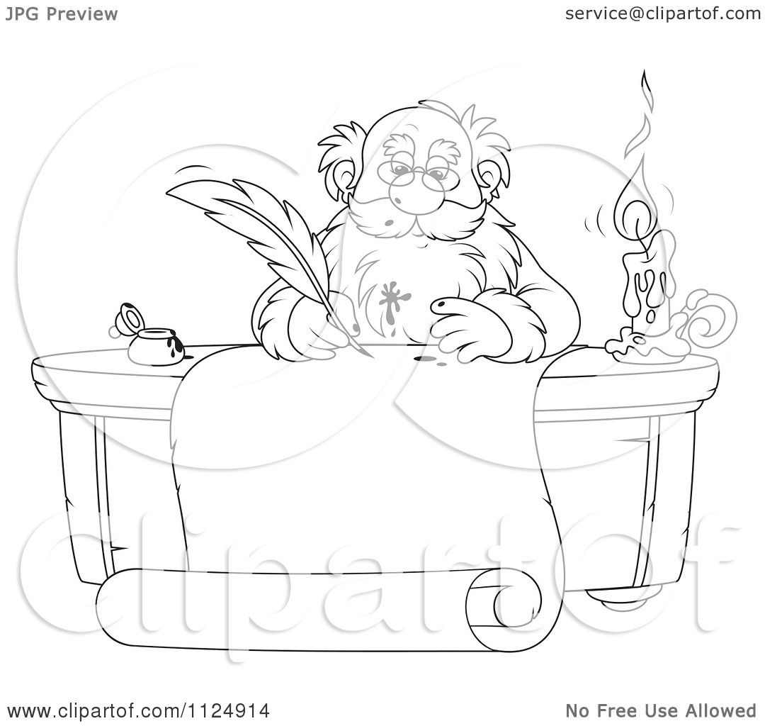 Cartoon Of An Outlined Santa Writing With A Messy Ink
