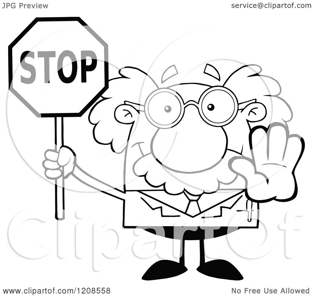 Cartoon Of An Outlined Science Professor Holding Out A