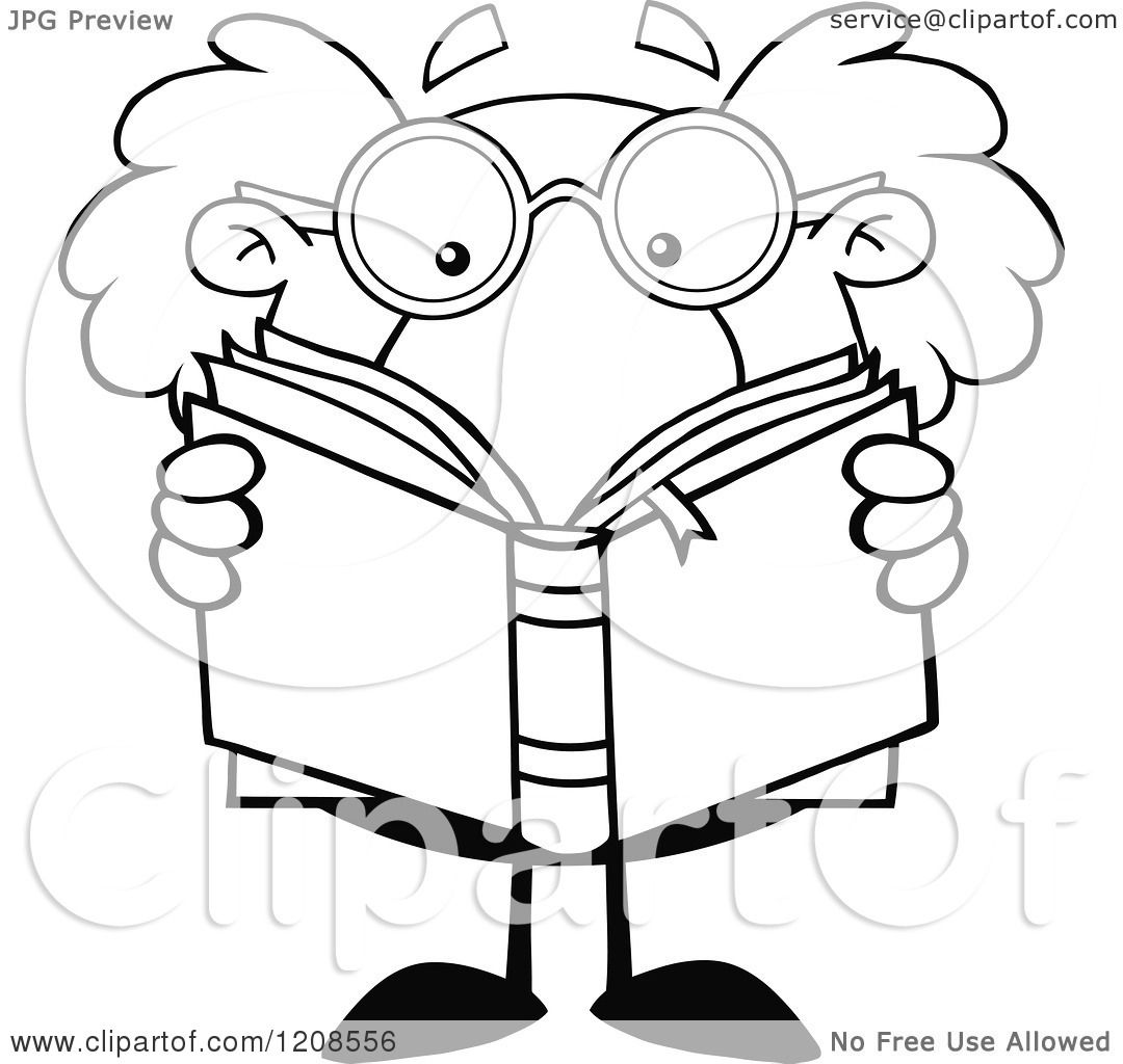 Cartoon Of An Outlined Science Professor Reading A Book