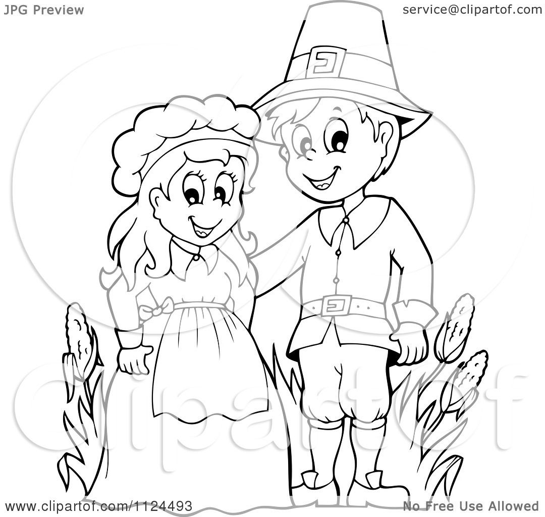Cartoon Of An Outlined Thanksgiving Pilgrim Couple