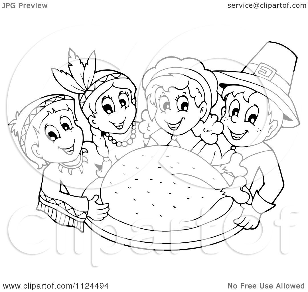 Cartoon Of An Outlined Thanksgiving Turkey With Pilgrims