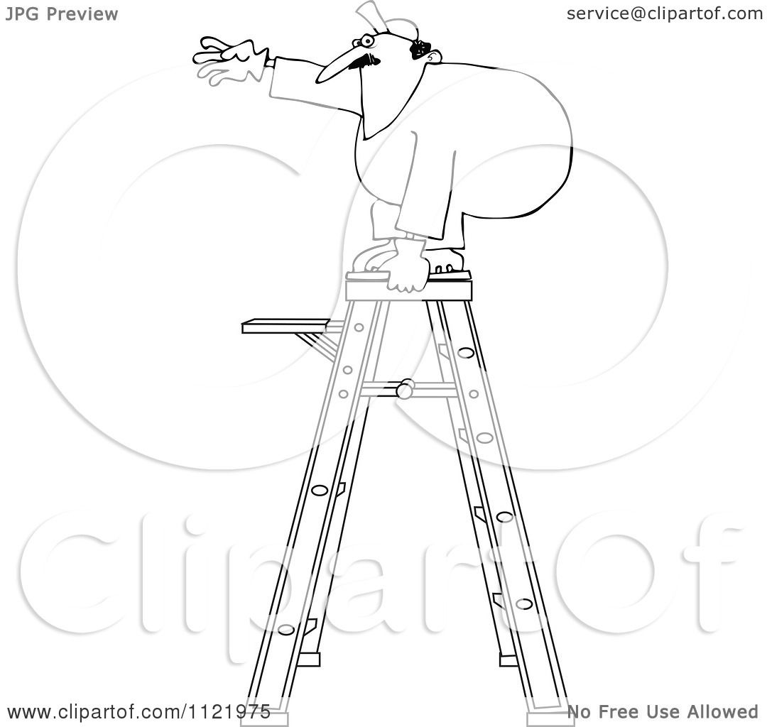 Cartoon Of An Outlined Worker Standing Unsteady On A