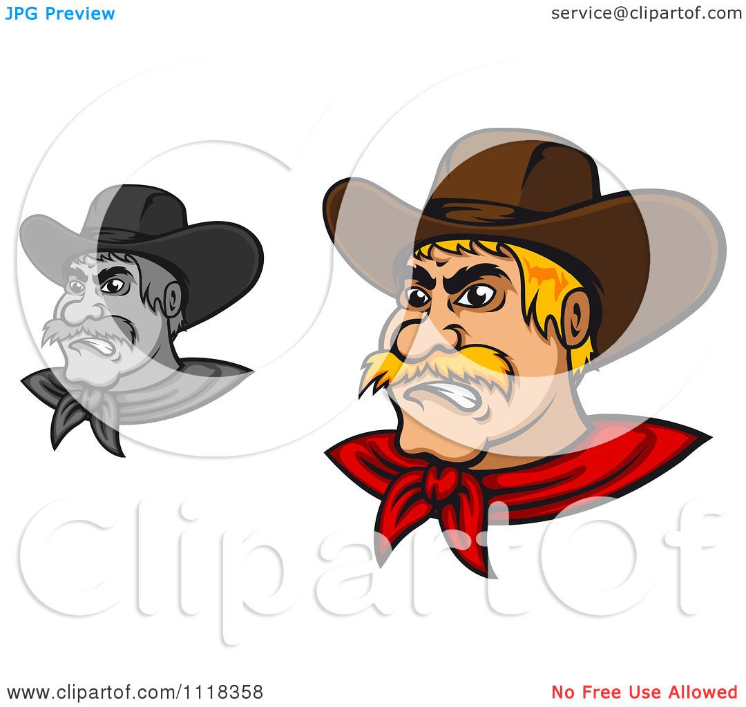 hight resolution of cartoon of grayscale and blond angry cowboys royalty free vector clipart by vector tradition sm