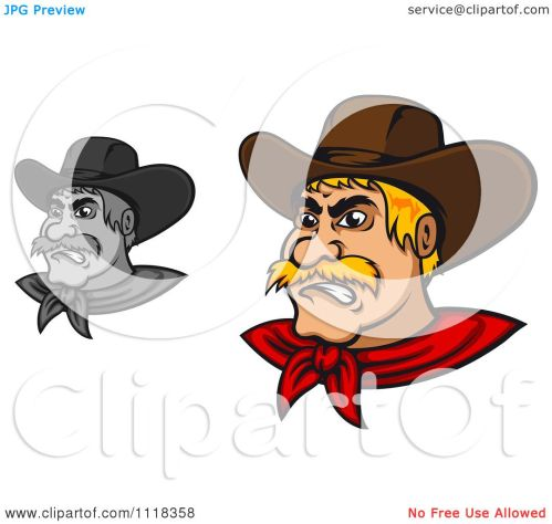 small resolution of cartoon of grayscale and blond angry cowboys royalty free vector clipart by vector tradition sm