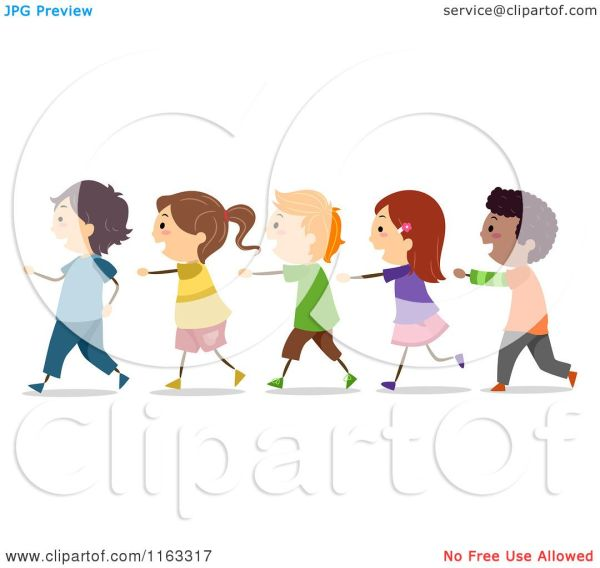 Students Walking in Line Clip Art