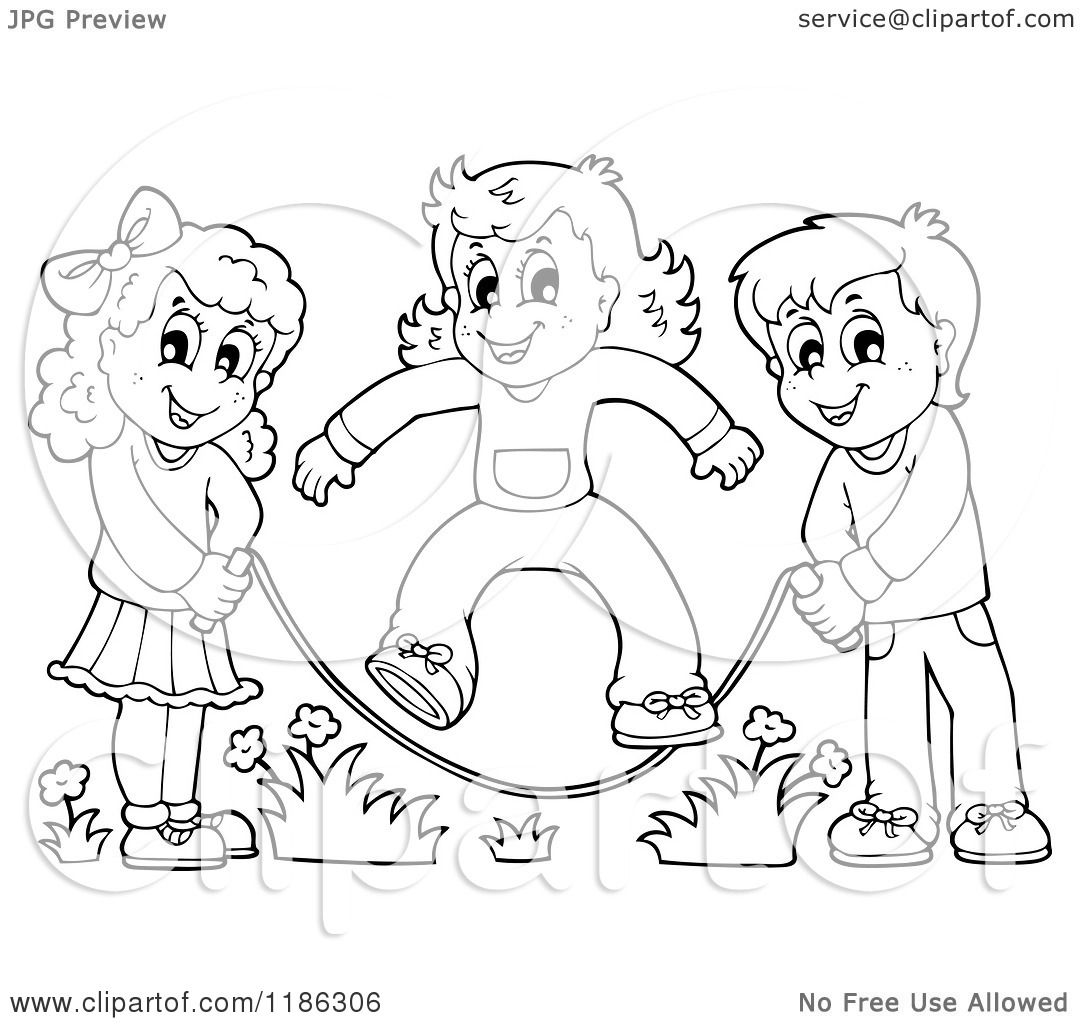 Cartoon Of Outlined Happy Children Playing Jump Rope