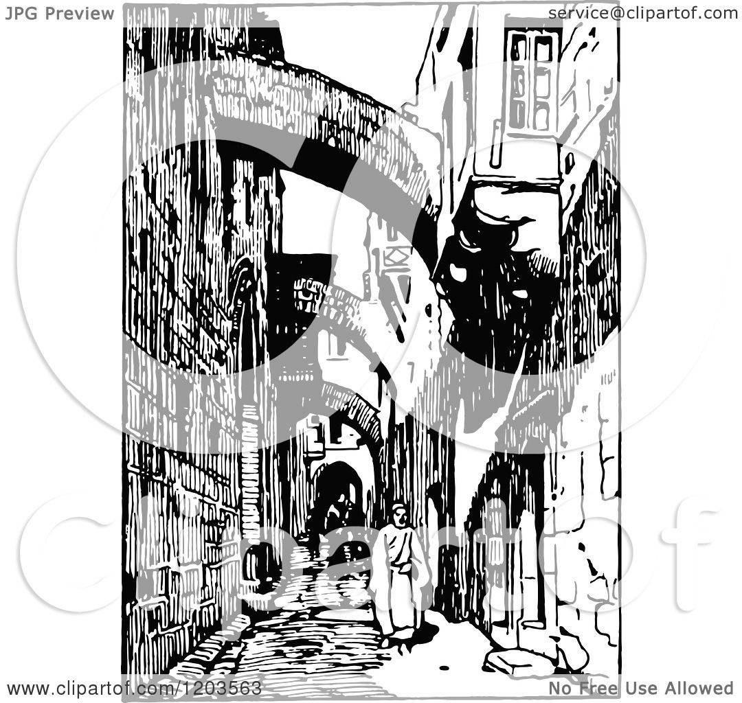 Cartoon Of Vintage Black And White Via Dolorosa Jerusalem