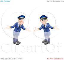 Cartoon Of Welcoming Hotel Doormen In Blue Uniforms