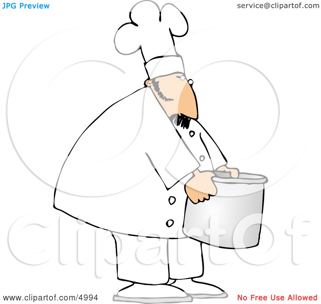 Chef Moving a Big Aluminum Metal Cooking Pot Clipart by