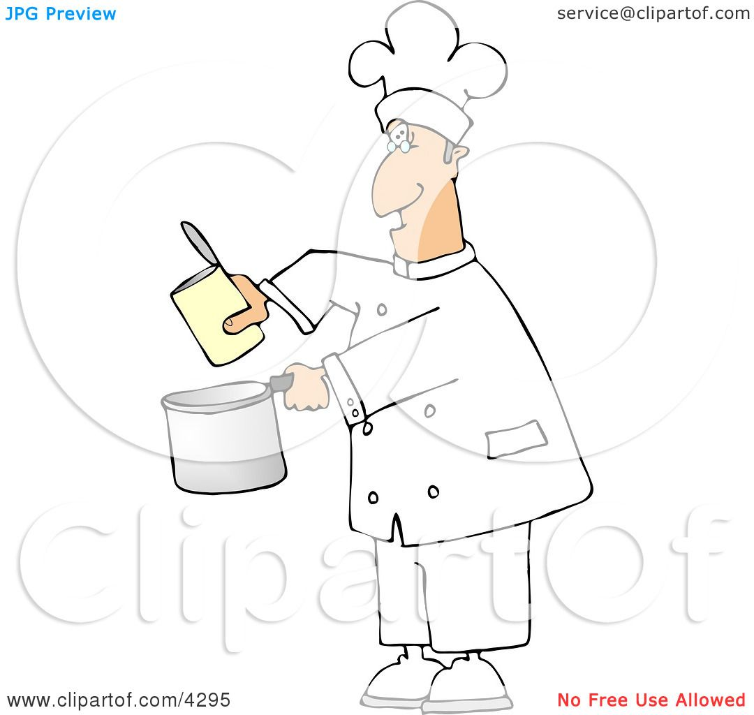 Chef Pouring Food from a Can Into a Cooking Pot Clipart by