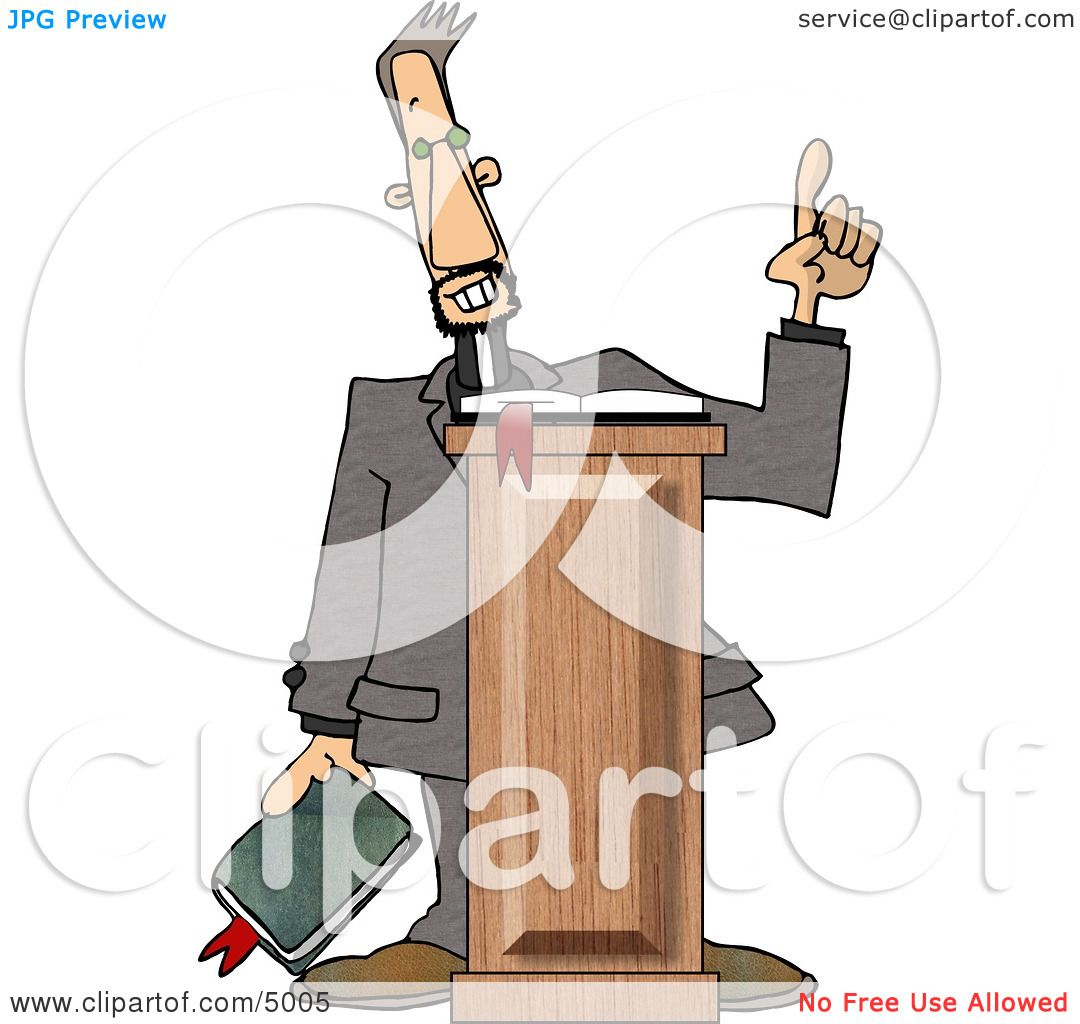 hight resolution of christian preacher holding a bible and giving a speech from behind a podium clipart by djart