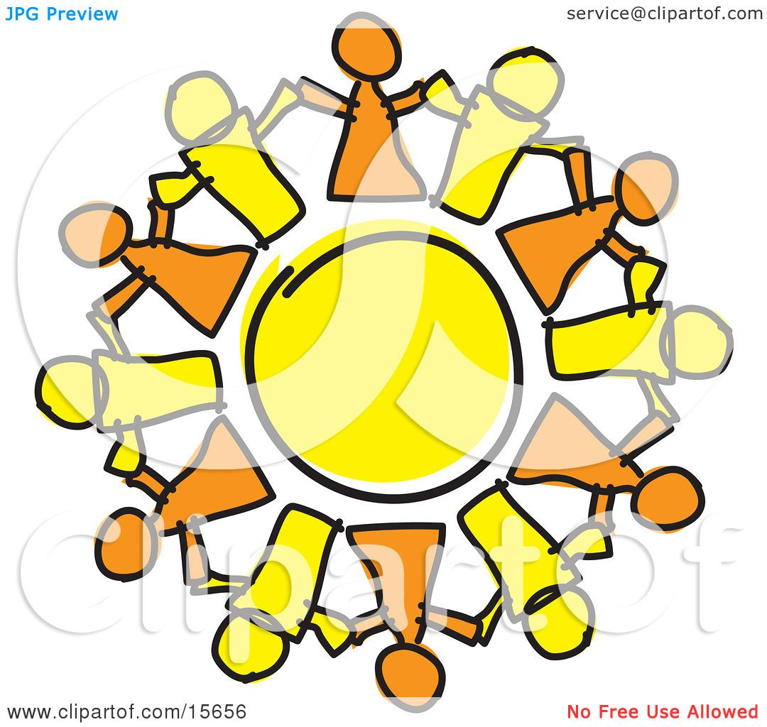 Circle Of Orange And Yellow People Holding Hands