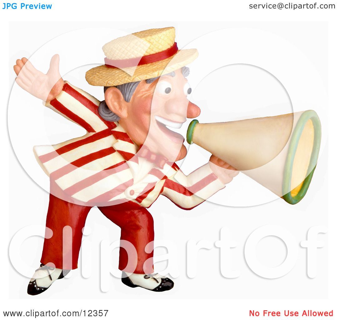 hight resolution of clay sculpture clipart carnival barker announcing with a megaphone royalty free 3d illustration
