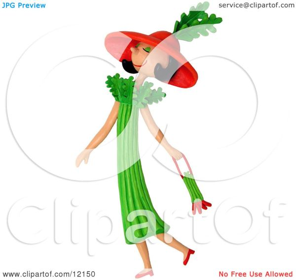 Clay Sculpture Clipart Celery Woman Walking With Purse