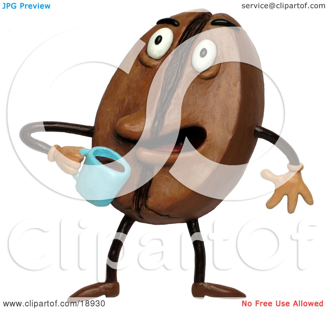 hight resolution of clay sculpture clipart coffee bean drinking java royalty free 3d illustration