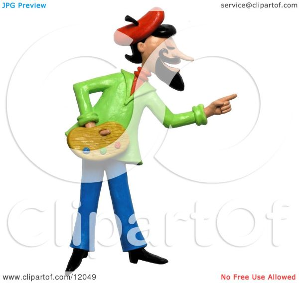 Clay Sculpture Clipart French Artist Pointing And Holding Palette - Royalty Free 3d