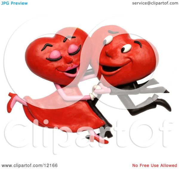 Clay Sculpture Clipart Heart Couple Dancing - Royalty Free