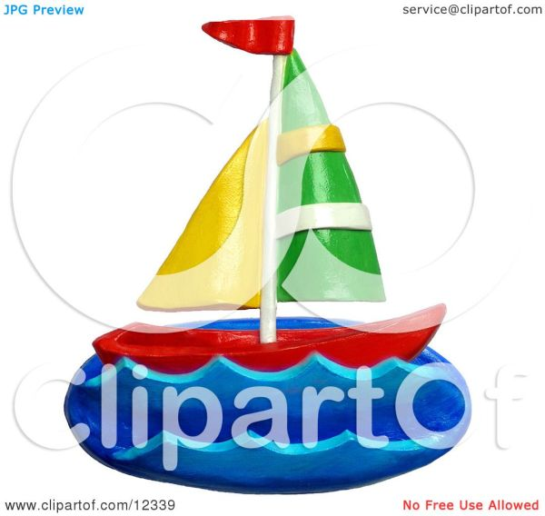 Clay Sculpture Clipart Sail Boat Sea - Royalty Free 3d