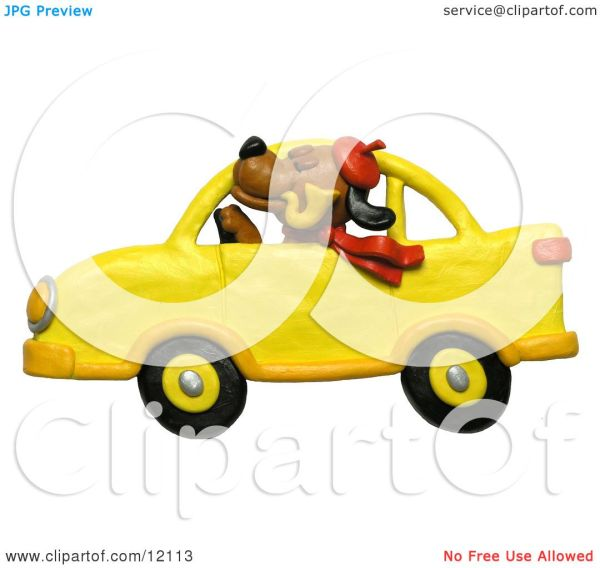 Dog Driving Car Clip Art