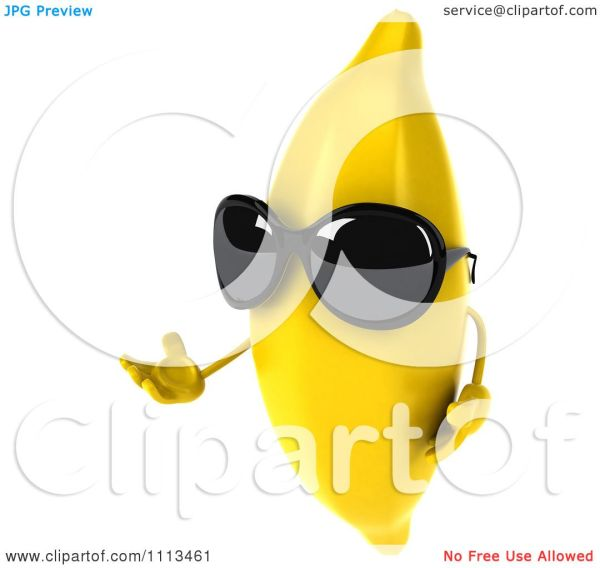 clipart 3d banana wearing sunglasses
