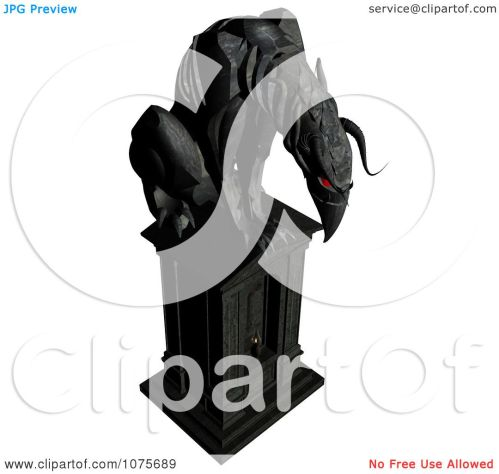 small resolution of clipart 3d black gargoyle statue with red eyes royalty free cgi illustration by ralf61