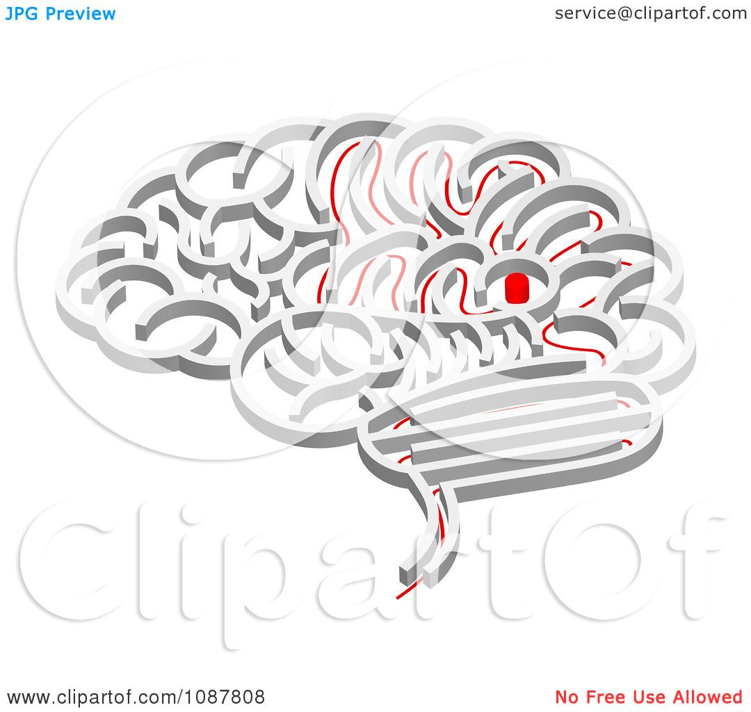 Clipart 3d Brain Shaped Maze With A Red Path Leading To
