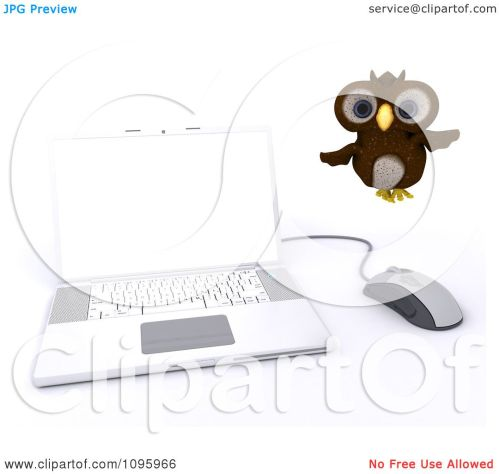small resolution of clipart 3d brown owl flying by a laptop royalty free cgi illustration by kj pargeter