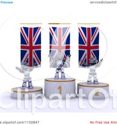 clipart 3d champion robots on first place and runner up podiums under british flags royalty free cgi illustration by kj pargeter [ 1080 x 1024 Pixel ]